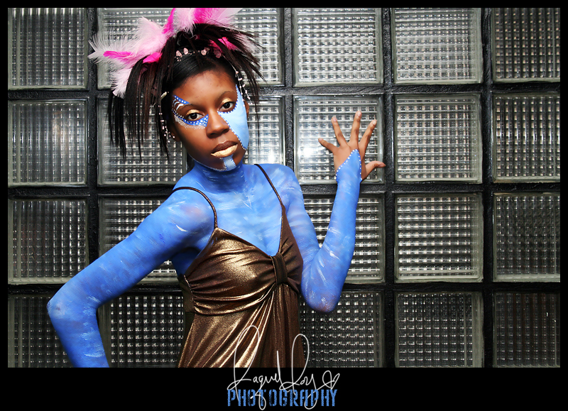 Female model photo shoot of slimone by Raquel Roy Photography, body painted by Lets Trick The Eye
