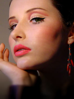 Female model photo shoot of Pink Makeup Artistry in Photo was taken at home :)