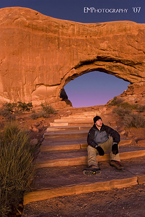 Arches National Park, UTAH Apr 21, 2008 EMPhotography Self Portrait~Winter in the Arches