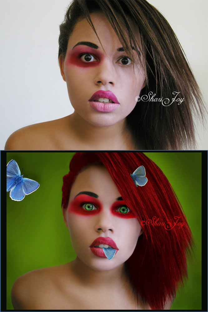 Los Angeles, CA May 09, 2008 Shari Joy Photographer/Model/Editor - Shari. Mike and I have 2 slightly different versions. We started off working together. It is his concept. I fixed the hair, the eyes, and used my own version of the butterflies. So YES, I edited this and did not steal it.