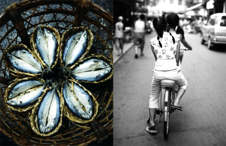 Saigon (Ho Chi Minh City, now), Vietnam May 16, 2008 Raymond Patrick Out takes from an assignment I shot for Bon Appetit in Saigon, Vietnam.  Fish arranged in a basket left and sisters on a bicycle - this picture is in my top five images ever.