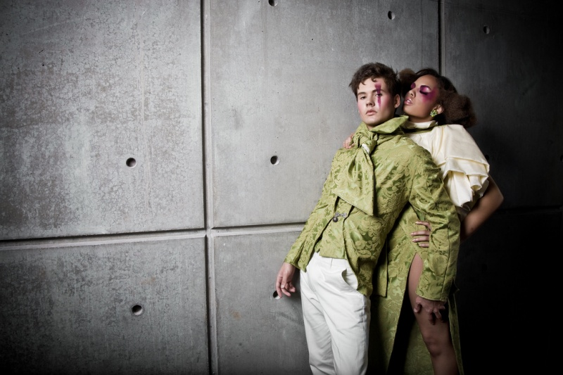 Female and Male model photo shoot of TikiGlam, Jacob Kennedy and Britto by Andrew Chan in Mosaic, hair styled by Dennis Clendennen, makeup by Makeup By Darcie