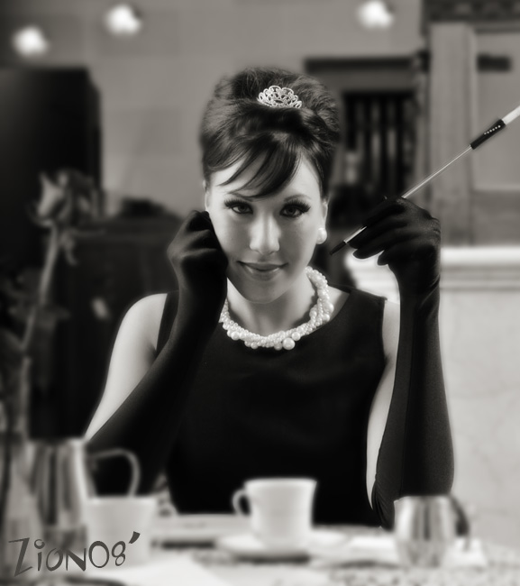 Waupaun WI Jun 20, 2008 Zion Photography Recreation of Audrey Hepurns Breakfast at Tiffanys
