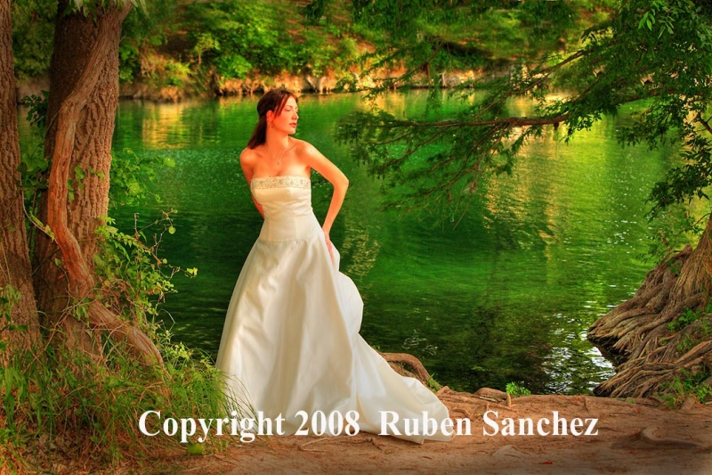 Blanco River, Late Afternoon Jun 30, 2008 www.rephotos.net  Ruben Sanchez Ciara, Bride Model On Blanco River. High End Retouch by me.