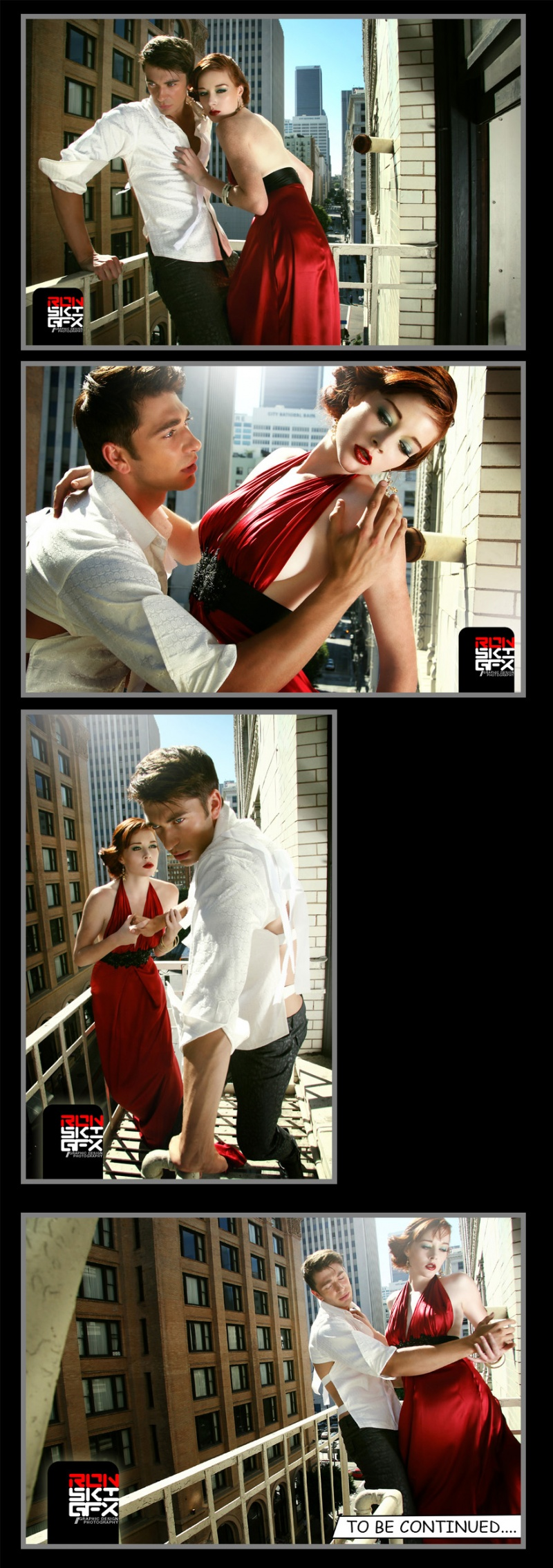 Male and Female model photo shoot of RON RonskiGFX CRUZ, Dragan and DominiqueCX in Downtown LA, makeup by Sharon Hawkey