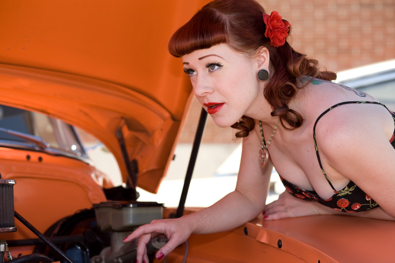 Female model photo shoot of Holly Von Sinn in Creepers Car Show, Edmonton