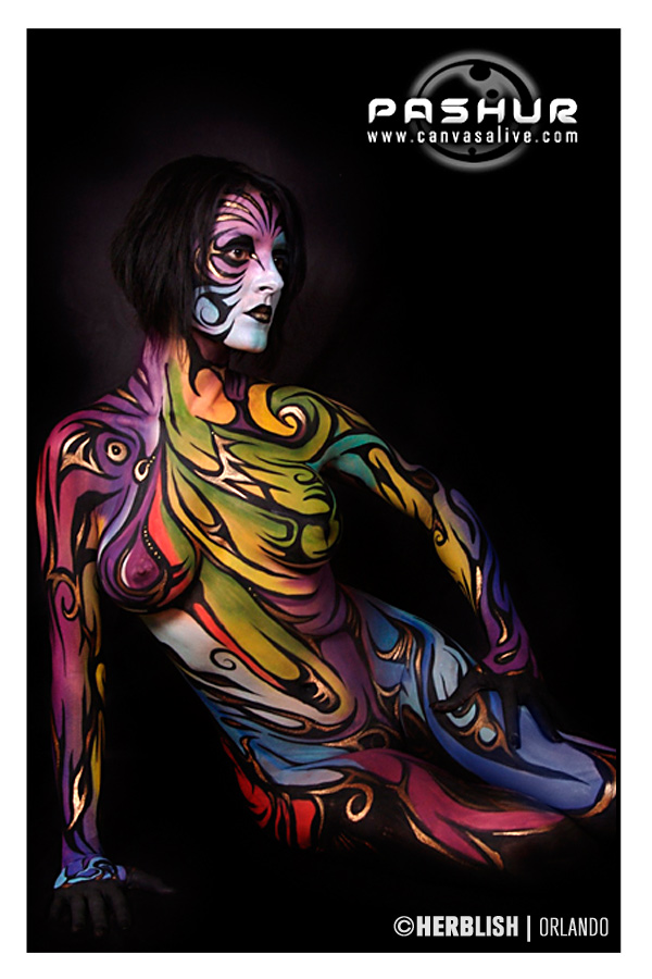 Male and Female model photo shoot of H E R B L I S H and Nadya111 by H E R B L I S H in Orlando, body painted by Pashur