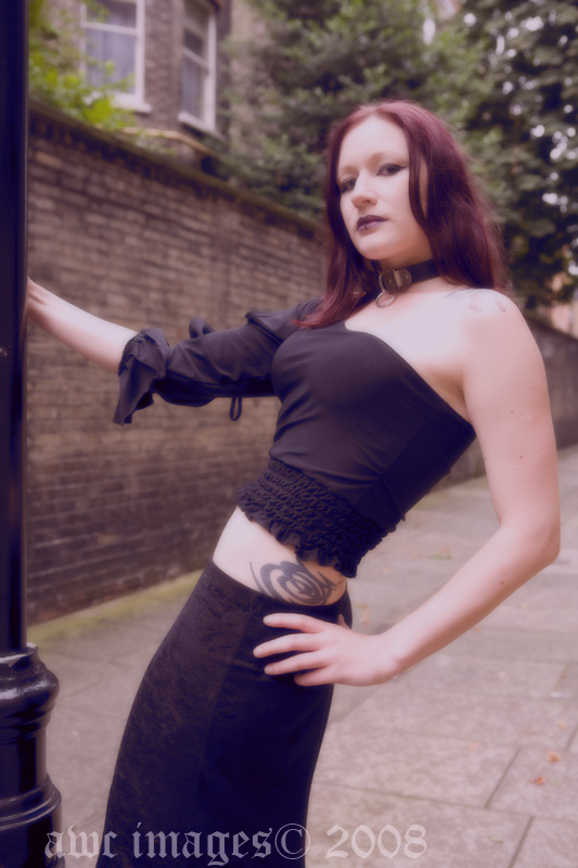 Female model photo shoot of ShadowKat by awc images in A lamp post, an alley, around Victoria, London