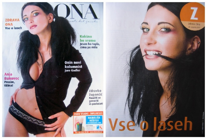 Slovenia Jul 14, 2008 Boris Gorjan, make up Dasha Cover of ONA magazine, August 2007