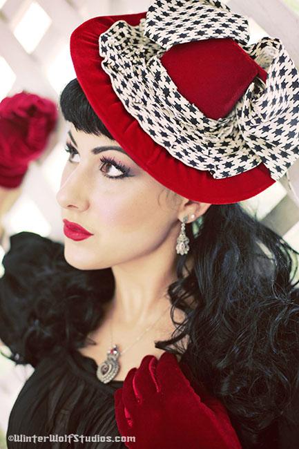 Ohio Jul 16, 2008 2008 Winter Wolf Studios Hey Sailor! Classic Rita Tilt Hat in Red Velvet & Houndstooth