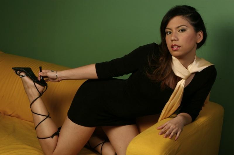 Female model photo shoot of angelene kok in studio singapore