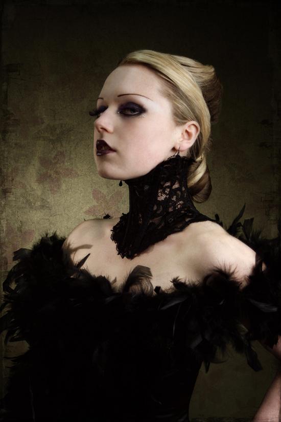 UK Jul 20, 2008 Image23 Victorian-inspired black lace neck corset on Hexabelle by Karen von Oppen for KvO Design