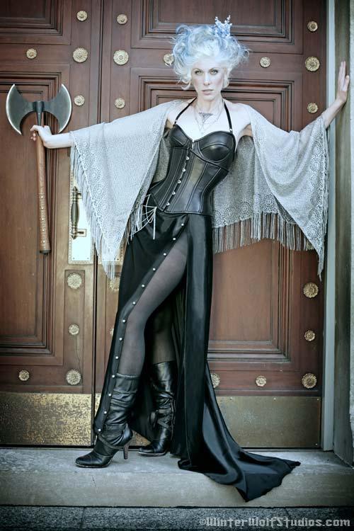 Jul 20, 2008 WinterWolf Studios The Guard. Black Lamb Corset/Bra w/ satin skirt, necklace and shawl by Karen von Oppen for KvO Design