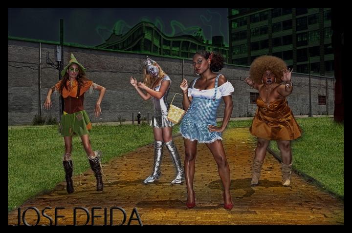Female model photo shoot of STARR TREATMENT NYC, Shanta Renee, Vanessa Marie Waznis, Jerzi and Kiska by Jose Deida in EMERALD CITY, BROOKLYN, makeup by Vicki Starr