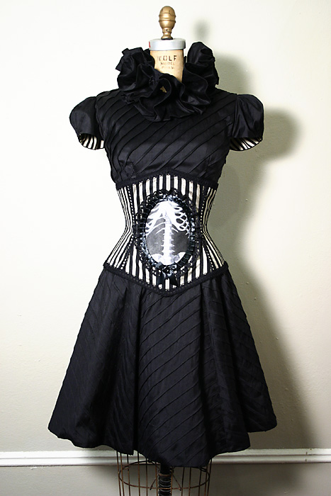 Jul 29, 2008 Avant Garde silk Chevron party dress with striped silk anatomy corset