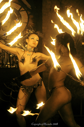 NYC Aug 04, 2008 FIre art Birushana cathy performing in Webster Hall /photo by Karl