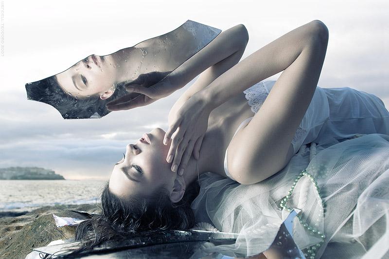 Bondi, Sydney, Australia Aug 08, 2008 Stylist - Angela Wozniak @ T.I.D. Model - Gemma @ Scene, Hair & Makeup - Jodi Gardner @ Work Narcissism, shipwrecked...one final glance in vain before death