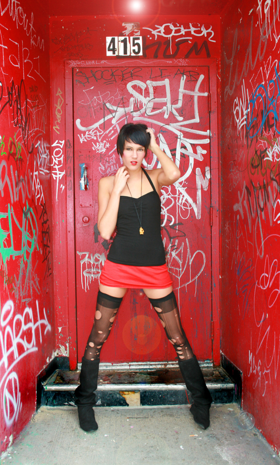 Detroit, Mi  C-Pop Gallery side door Aug 09, 2008 © Gordon Alexander 2008 Red Door Series-Gigi( 5 minutes into the shoot it down poured)