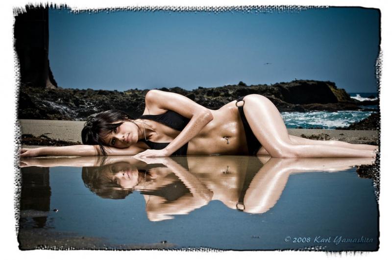 Male and Female model photo shoot of Karl Yamashita and MzNidia in Laguna Beach
