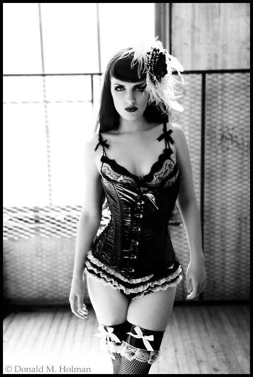 Male and Female model photo shoot of DMHolman and Vampireleniore in Seattle, WA, wardrobe styled by ellenoir corsets