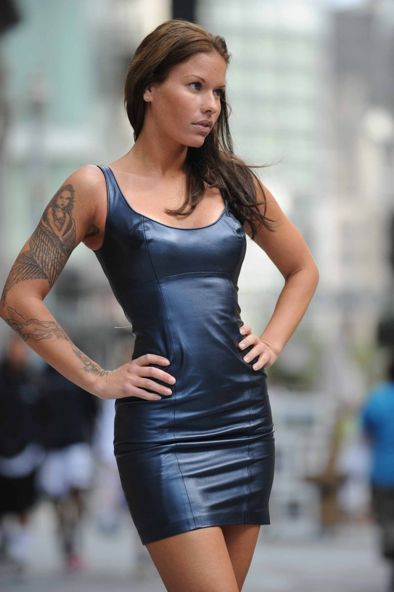 San Francisco  California , Grant Ave special event Aug 25, 2008 West Coast Leather International, photo Kevin Sam Classic tank dress , deep blue pearlized lambskin