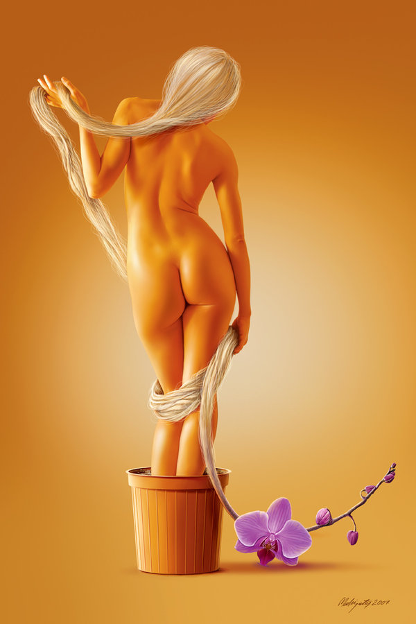 Digital Painting, Reference Photo: http://mjranum-stock.deviantart.com/ Sep 10, 2008 mahirates The orchid in the flowerpot