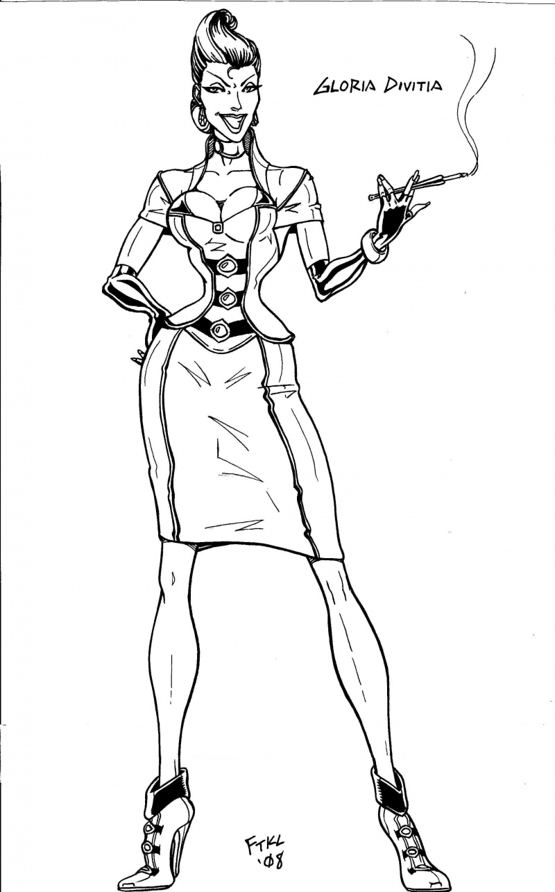 Here Sep 13, 2008 Me One of my latest villainesses (and proof that inking with brushes rules).