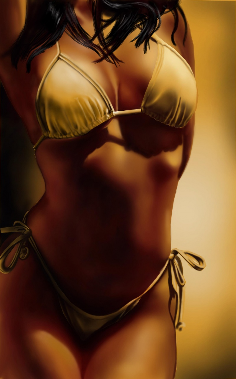 Sep 19, 2008 yellow bikini digital painting