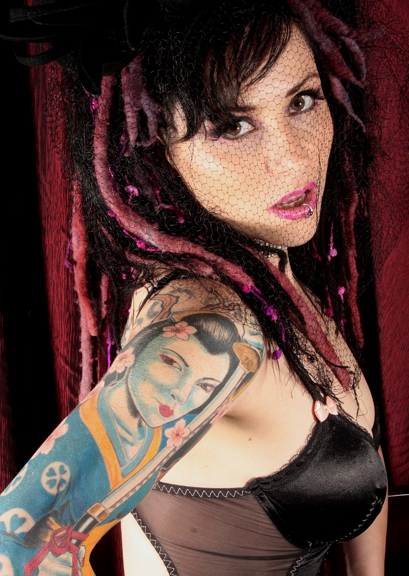 1 of 4 pics featured Sleve Tattoo By: Mike Pritchett Matchless Tattoo Sebastopol, Ca Sep 22, 2008 (Hair, Styling & Make up by: Me) Miss June for the 101.7 The Fox Calendar