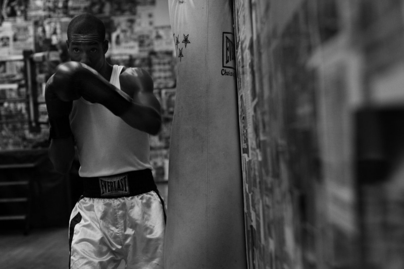 Male model photo shoot of Juan White in Church Street Boxing Gym, NYC