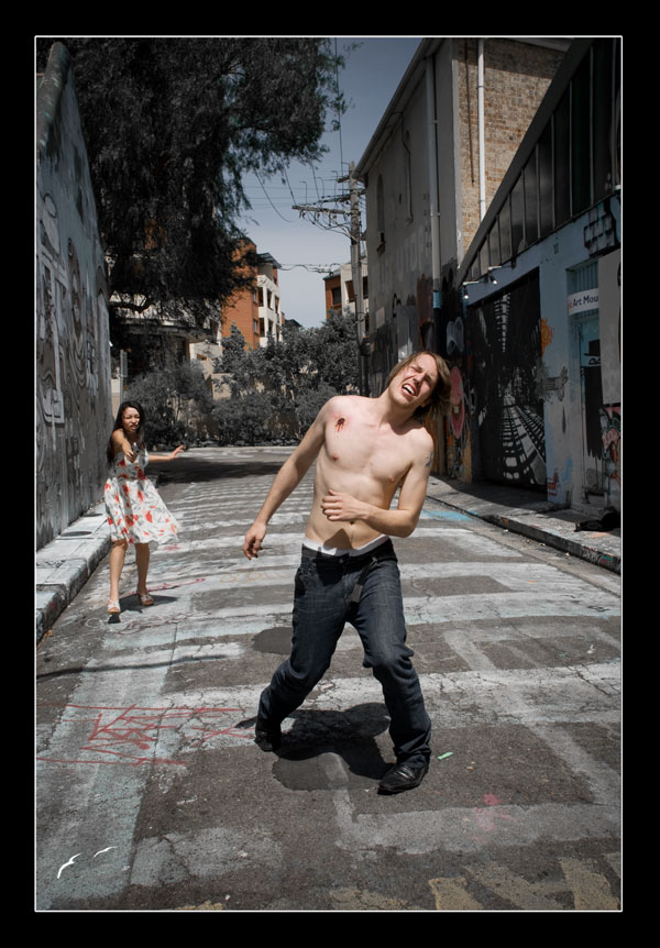 Female and Male model photo shoot of Jessica Tesla, andrew thatcher and Lavender Brigid in Sydney