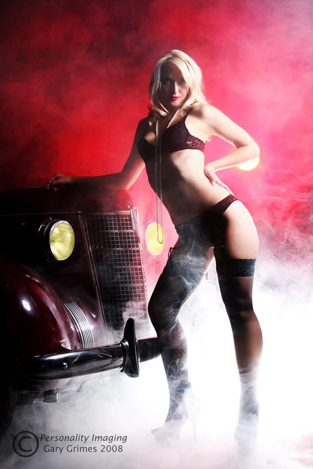 Old Car Heaven,  Birmingham, Alabama Oct 06, 2008 Grimes Enterprises LLC 2008 Shelley, a $1M+ car, and my $100 fog machine