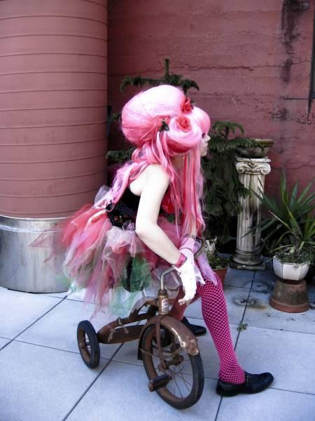 Portland Oregon with model Friday Oct 14, 2008 photographer- Selene Gibbous, wig design- Lana Guerra Strawberry Wig