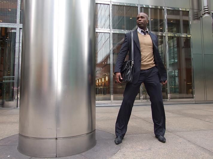 Male model photo shoot of James Wani in London city