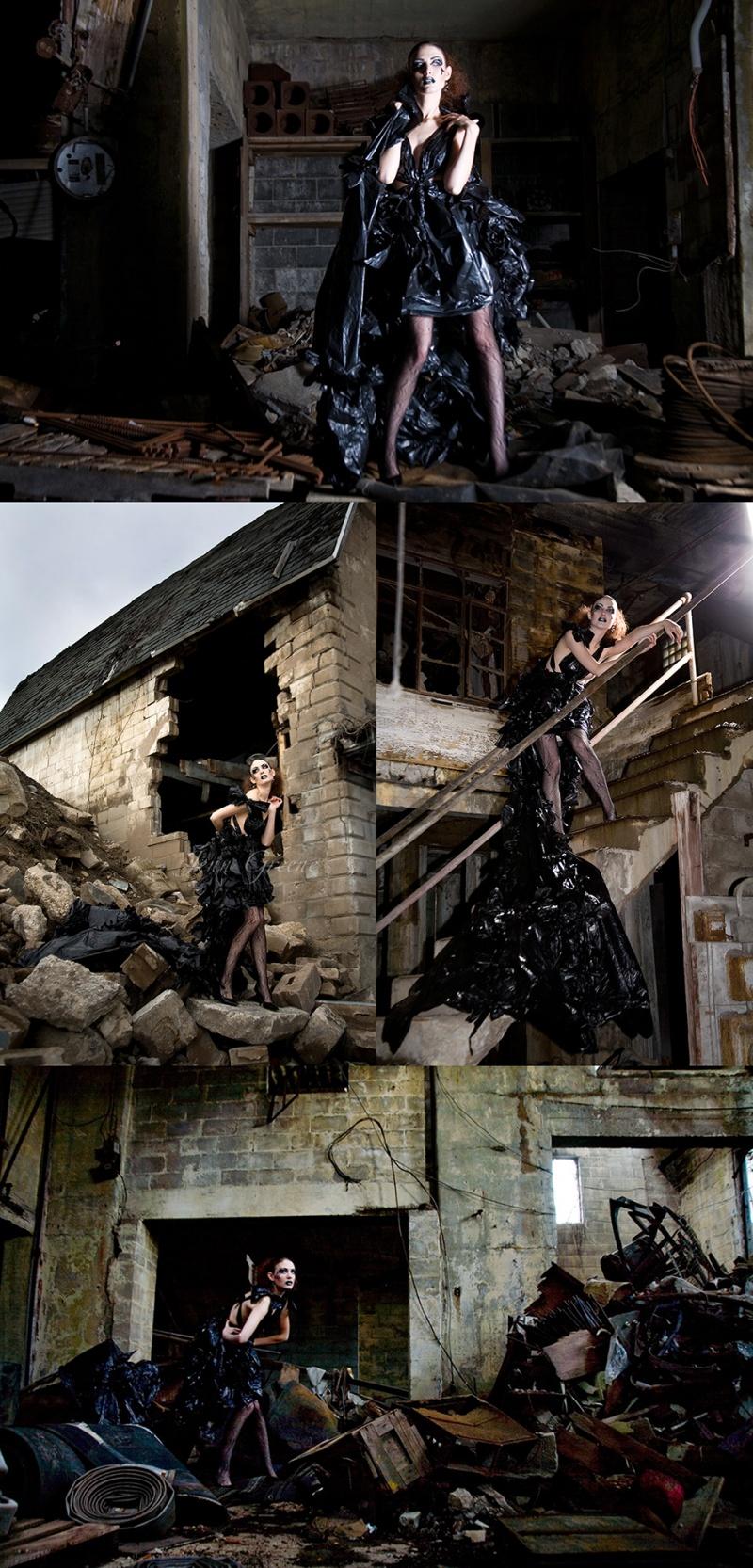 Rochester, NY Oct 29, 2008 Jenn Greene Haute Couture - Black plastic bags