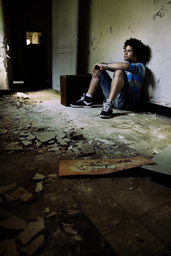 Female model photo shoot of FVP in Abandoned orphanage Belgium