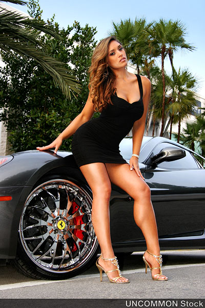 Oct 31, 2008 © Michael D. Colanero / InkSpot Designs / UNCOMMON Stock Maxim Model - Melanie Tillbrook & Timbalands Ferrari