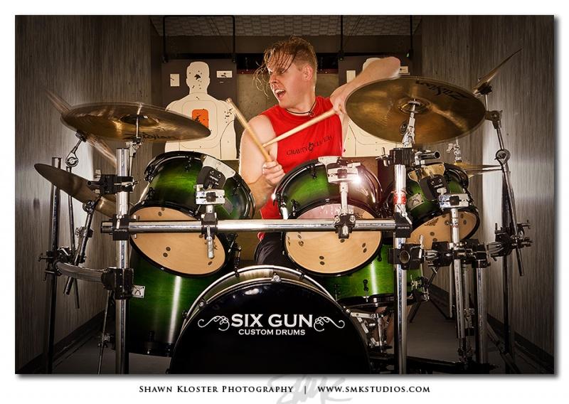 Indoor Gun Range ...but I only shot my camera.  =) Nov 17, 2008 Shawn Kloster Darin Meyer - Drummer for Gravity Clutch - Six Gun Drums Promo