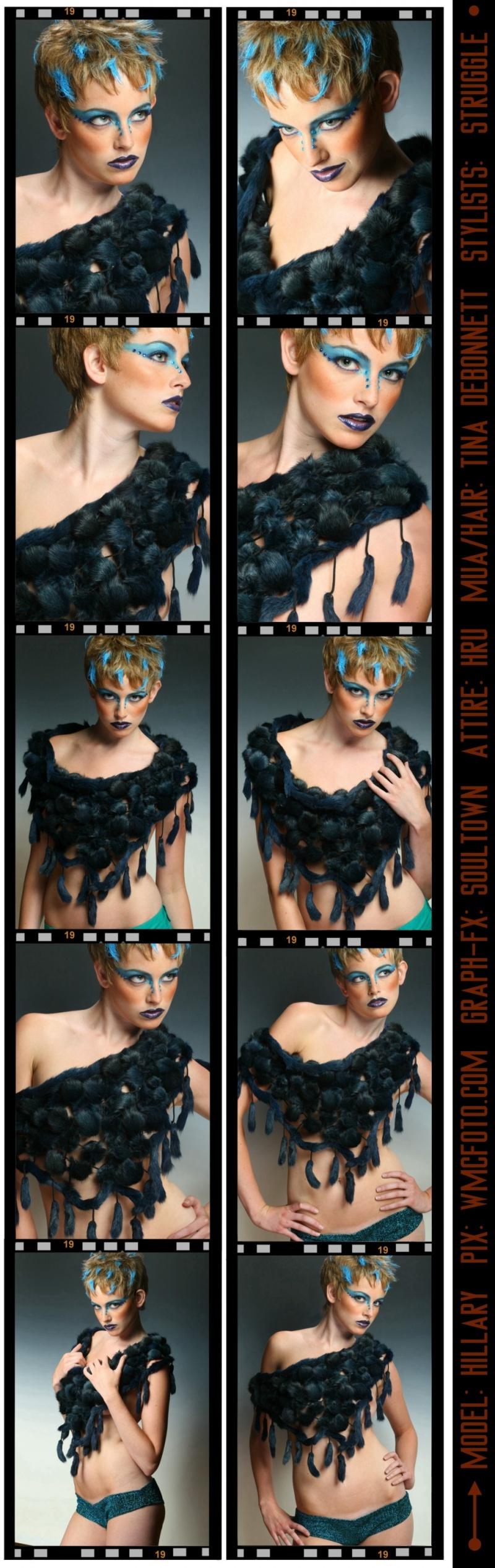 FYRE Boutique Loft. Nov 28, 2008 (c) 2008. WMCPhoto.com/HRU. Foxy Blu. Genuine Fox Fur wrap in Denim Blue. Bootay shortz in Teal and Black.  MODEL: HILLARY,  FOTO: WMCFOTO.COM.  RETOUCHES & GRAPH-FX: SOULTOWN.  MUA/HAIR: TINA DEBONNETT.  FASHION: HRU.  STYLISTS: STRUGGLE.