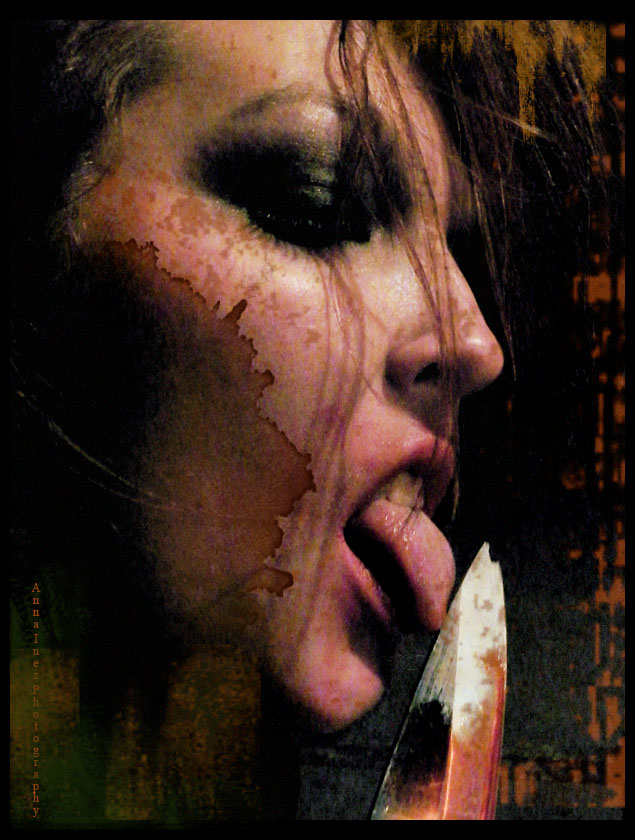 Female model photo shoot of Lenna Amor by Anna Inez in House of Nightmares, makeup by Enchantment By Adi