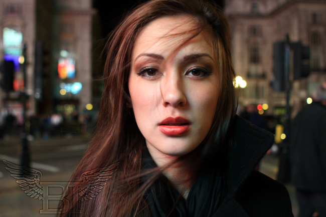 Picadilly Circus, London England Dec 14, 2008 Black Technicolor Timeless Beauty Shot - Model: Miss Mei Hughes