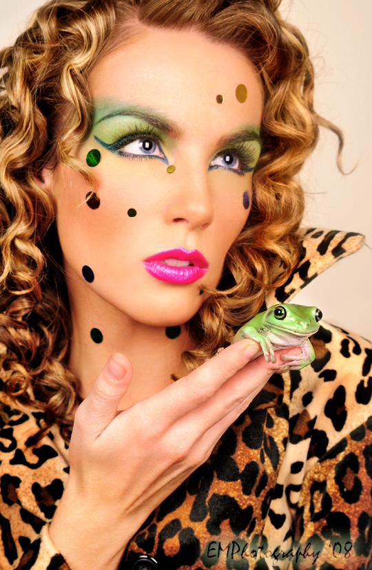 Dec 15, 2008 EMPhotography 2008 Model Jenn Fulfer and Malik the Frog; yes a real smiling frog!      Hair stylist~ Ashley Jordan
