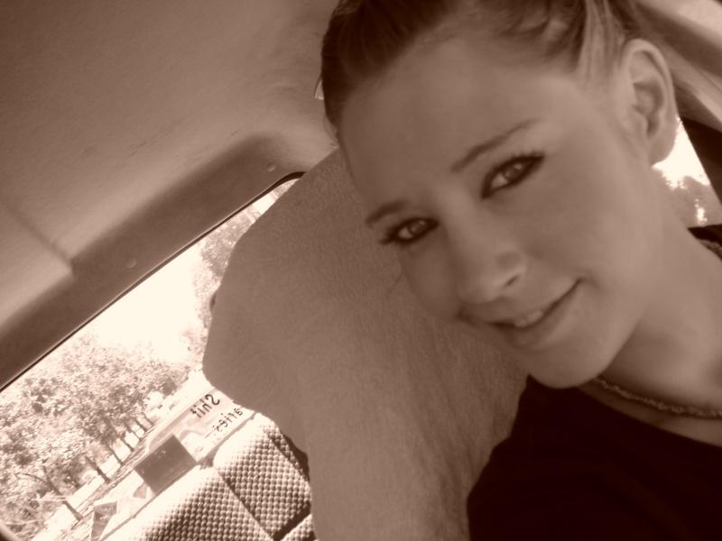 Female model photo shoot of Miss Nicci in in my car