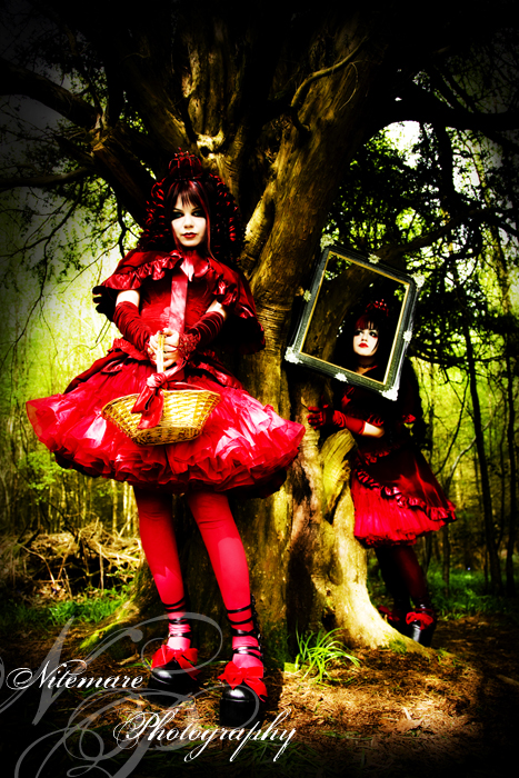 Female model photo shoot of Nitemare Photography, Deadly D0ll and Azadeh B in Ashdown Forest, UK