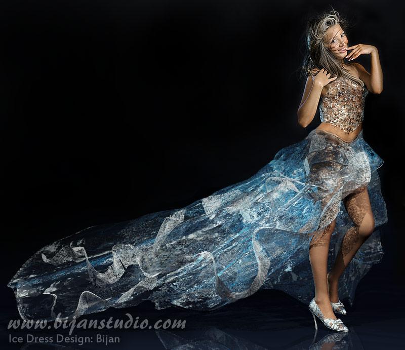 Studio Dec 20, 2008 Bijan Studio Ice dress. Opacity, color, shape, size can be adjusted. Model: Nikki