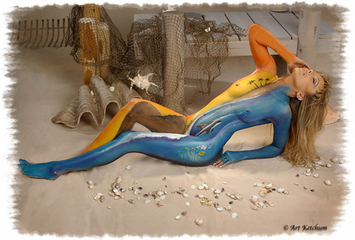 Chicago - Studio Jan 03, 2009 © Art Ketchum Jacki on the beach - Bodypainted by Jim Brando