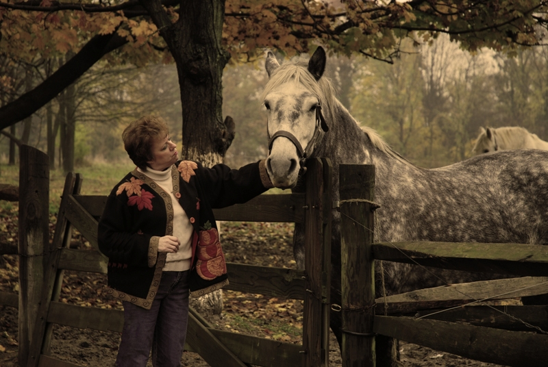 Landis farm museum Jan 08, 2009 rballphotography Debbie with horse
