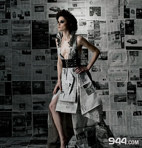 West Hollywood,CA Jan 14, 2009 Priscilla Rivera/ Adam Secore photography / 944 magazine Victorian newspaper dress - original design