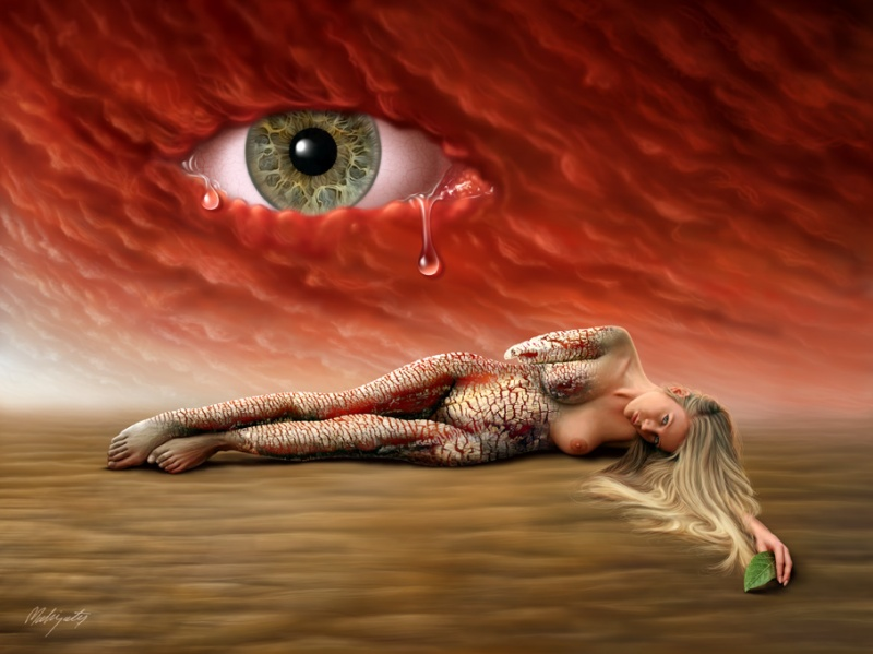 Digital Painting, Model: Muse Jan 21, 2009 mahirates The red sky is crying