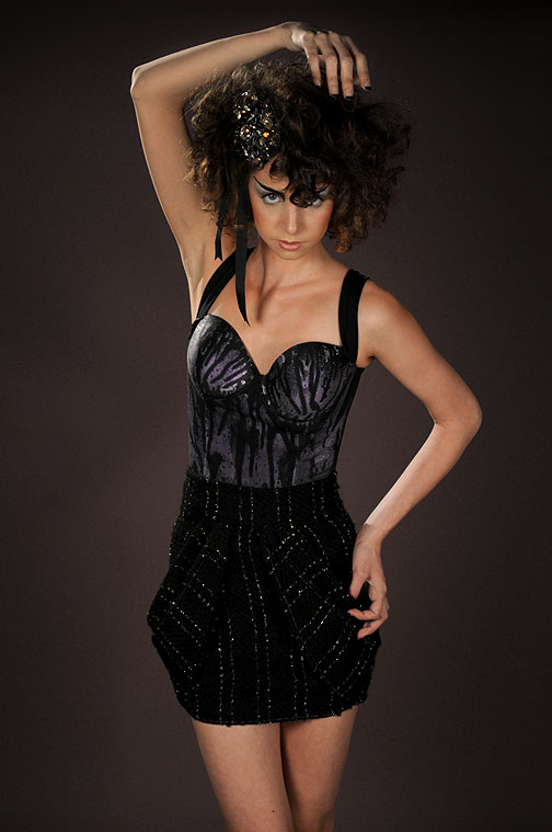 Jan 26, 2009 Daniel Gagnon Photography Splatter Bustier and Boucle Drape pocket Skirt